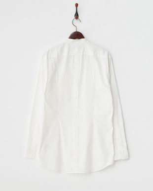 ホワイト マオカラー長袖シャツ見る