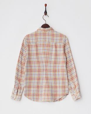 サックス  リネン混チェックシャツ見る