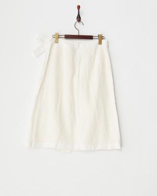 OFF WHT  B:リネンラップスカート見る