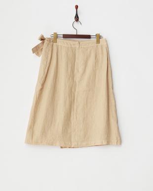 BEIGE  B:リネンラップスカート見る