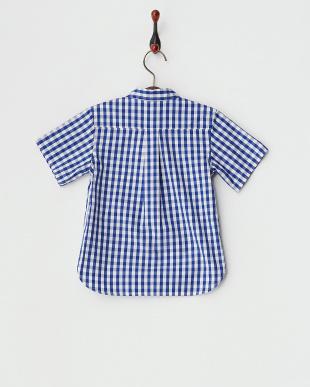 ブルー  半袖チェックシャツ見る
