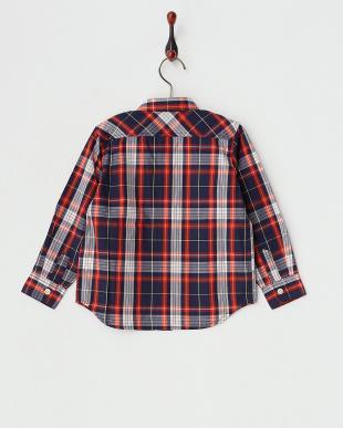 レッド  長袖チェックシャツ見る
