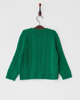 グリーン  ケープル編み ニットカーディガン見る