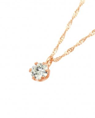 K18PG  天然ダイヤモンド0.1ct VVSクラス 6本爪ネックレス見る