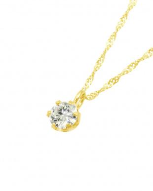 K18YG  天然ダイヤモンド0.1ct VVSクラス 6本爪ネックレス見る