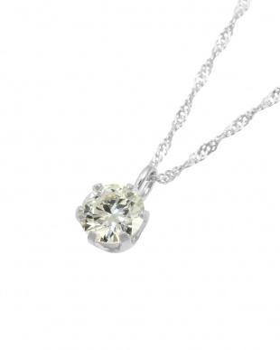 K18WG  天然ダイヤモンド0.2ct VVSクラス 6本爪ネックレス見る