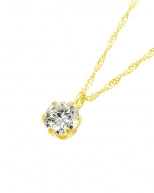 K18YG  天然ダイヤモンド0.2ct VVSクラス 6本爪ネックレス見る