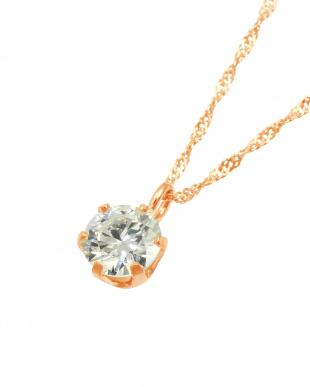 K18PG  天然ダイヤモンド0.3ct VVSクラス 6本爪ネックレス見る