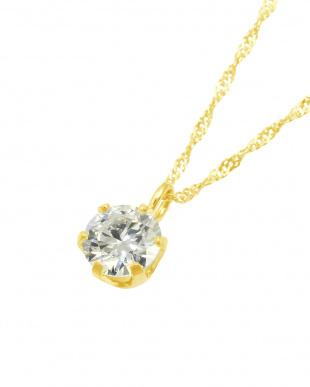 K18YG  天然ダイヤモンド0.3ct VVSクラス 6本爪ネックレス見る