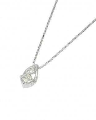 K18WG  天然ダイヤモンド 計0.08ct ドロップ ネックレス見る
