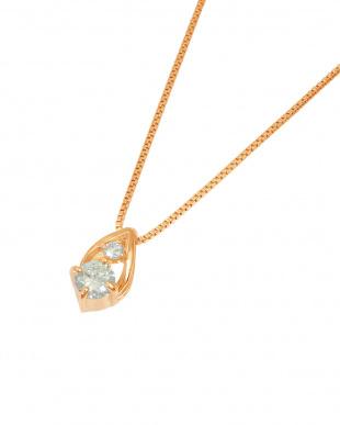 K18PG  天然ダイヤモンド 計0.08ct ドロップ ネックレス見る