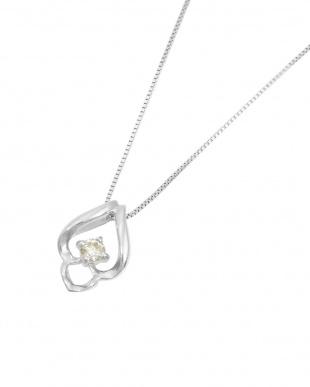 K18WG  天然ダイヤモンド 0.05ct ドロップ デザインネックレス見る