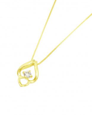 K18YG  天然ダイヤモンド 0.05ct ドロップ デザインネックレス見る