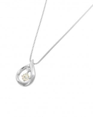 K18WG  天然ダイヤモンド 0.05ct 揺れるティアドロップ ネックレス見る