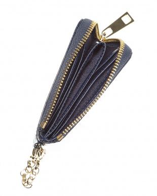 ネイビー  L字ファスナーミニ財布(クロコ型押しエナメル)見る