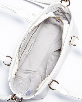 ホワイト デザインくり手ミニトートバッグ見る