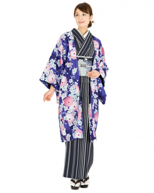 ブルーパープル系 万寿菊&桜&矢絣 洗えるプレタ長羽織見る