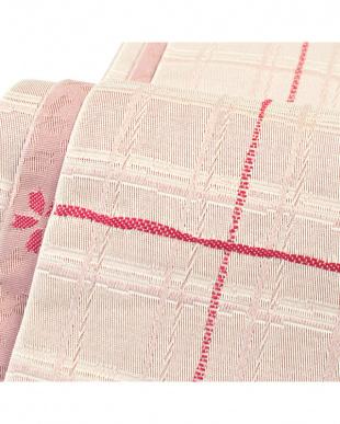 ピンクベージュ系 格子+桜 両面小袋帯見る