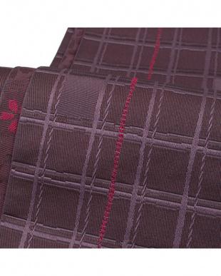 ダークパープル系 格子+桜 両面小袋帯見る