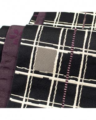 ブラック系&ダークパープル系 格子+桜 両面小袋帯見る