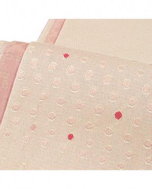 ピンクベージュ系&ピンク系 ドット+桜 両面小袋帯見る