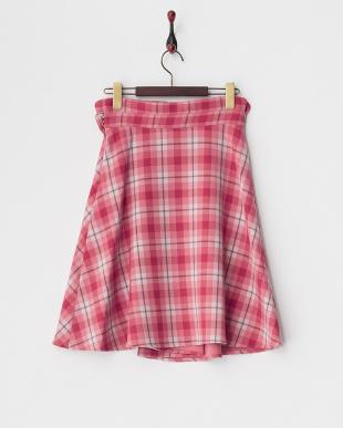 ピンク系 チェック ウエストねじりリボンスカート見る