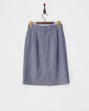 ブルー  ラメツイードタイトスカート見る