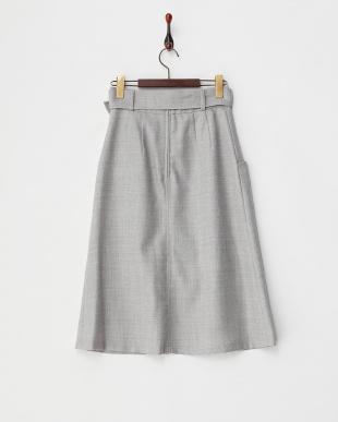 ライトグレー  ウールジョーゼットベルト付ロングタイトスカート見る
