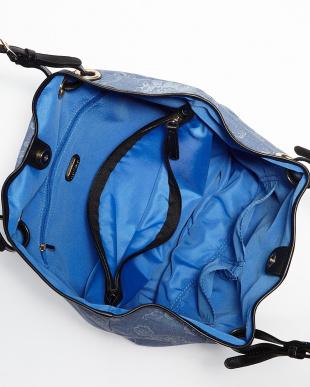 ブルー CASA DECO フラワープリントトートバッグ見る