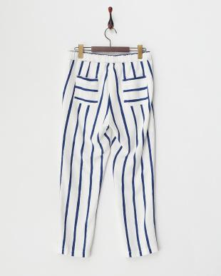 WHITE×BLUE  LINEN BORDER PANTS見る