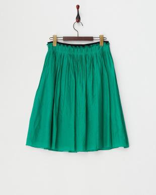 グリーン  ヴィンテージサテンギャザースカート見る