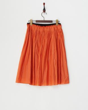 オレンジ  ヴィンテージサテンギャザースカート見る