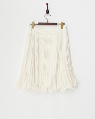 オフホワイト 梨地シフォンプリーツスカート見る