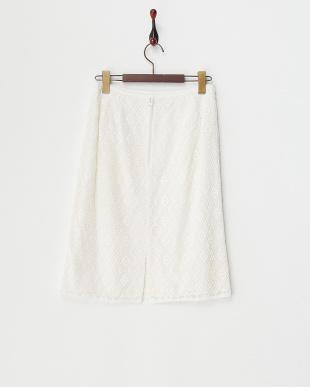ホワイト ケミカルレースボーダースカート見る