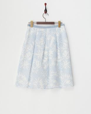 サックスブルー シアーチェックフラワープリントスカート見る
