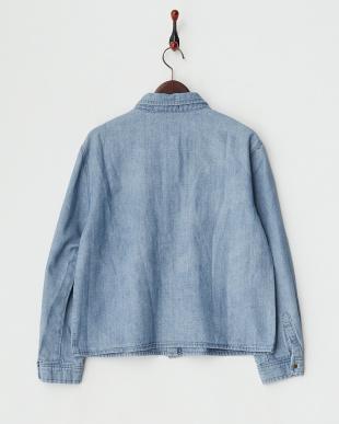 ブルー ミリタリーシャツジャケット見る