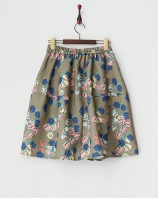 カーキ チューリップ切り替えスカート見る