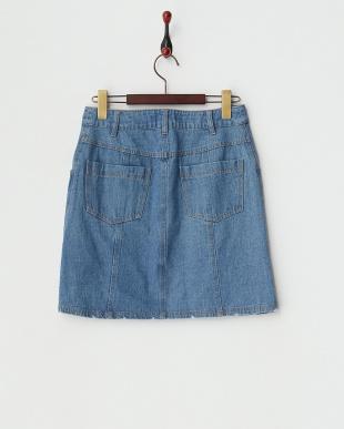 ブルー デザインボタンデニム台形スカート見る
