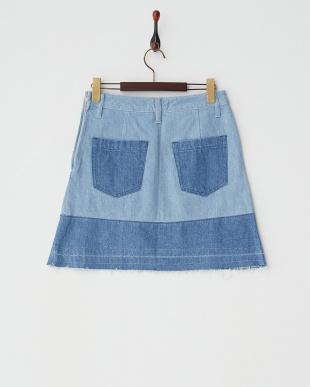 ブルー  パッチワークデニムミニスカート見る