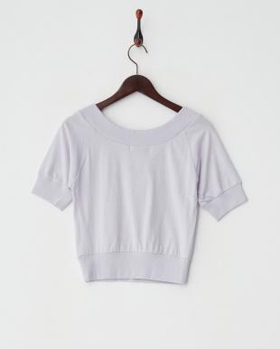 パープル  オフショルVネックTシャツ 2見る