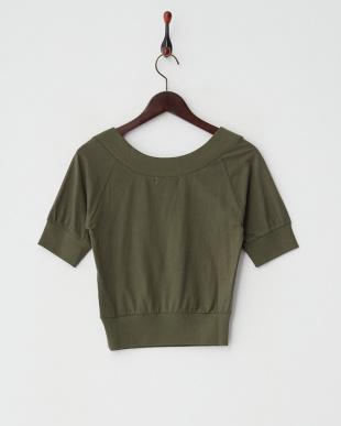 カーキ  オフショルVネックTシャツ 2見る