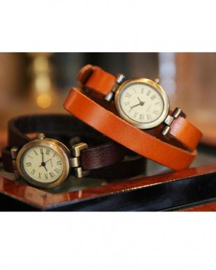 ブラウン  本革アンティーク2連ベルト腕時計見る