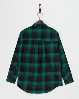 グリーン  チェックオーバーネルシャツ見る