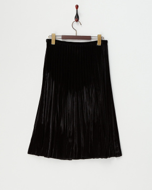 ブラック  起毛プリーツスカート見る