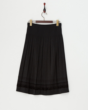 ブラック ふくれジャガードプリーツスカート見る