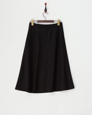 ブラック ウール混フレアスカート見る