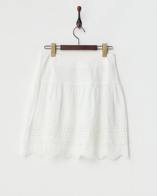 オフホワイト 裾スカラップ ショートスカート見る