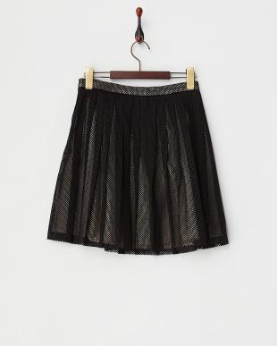 ブラック  レイヤード風プリーツスカート見る