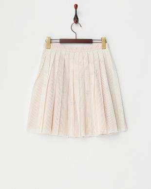 オフホワイト  レイヤード風プリーツスカート見る