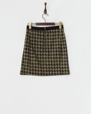 カーキ  千鳥柄スカート見る
